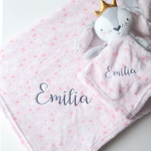 Personalised Pink Blanket With Bunny Comforter