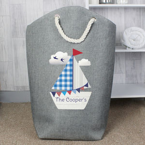 Personalised Sailboat Grey Kids Storage Bag