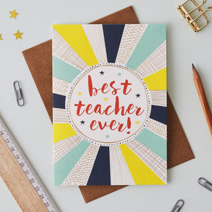 Best Teacher Ever Gold Foiled Greetings Card