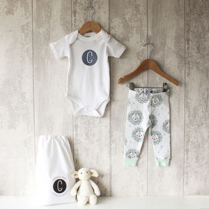 Personalised Mint Lion Baby Bodysuit And Leggings Set