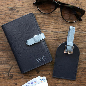 Leather Luggage Tag And Passport Set - 60th birthday gifts