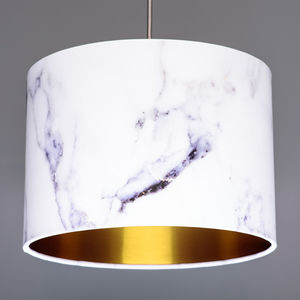Marble Effect Lampshade Choice Of Metallic Linings