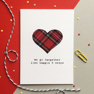 'We Go Taegether' Scottish Tartan Valentine's Card