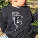Navy Blue Personalised Pattern Initial Sweatshirt