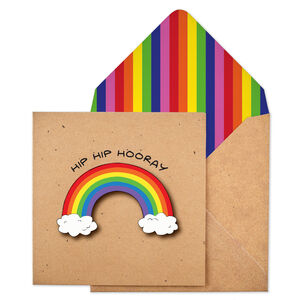 Hip Hip Hooray Personalised Rainbow Handmade Card
