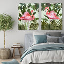 Hot House Flamingos, Set Of Two Art Prints