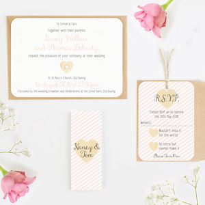 Blush Stripe Wedding Invitation Bundle