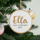 First Christmas Personalised Glitter Name Hoop Bauble