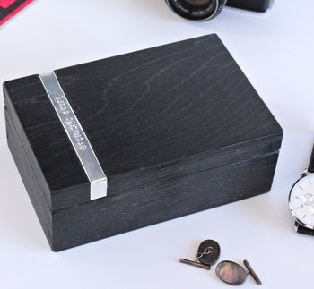 Onyx Wood Personalised Man's Watch or Cufflink Box