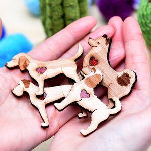 Personalised Wooden Dog Breed Brooch Gift