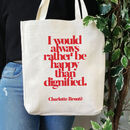 Feminist 'Rather Be Happy' Slogan Tote Bag