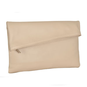 Nude Leather Clutch Bag - clutch bags