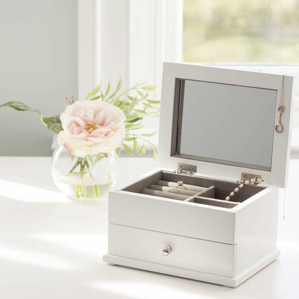 white wooden jewellery box with drawer by jodie byrne