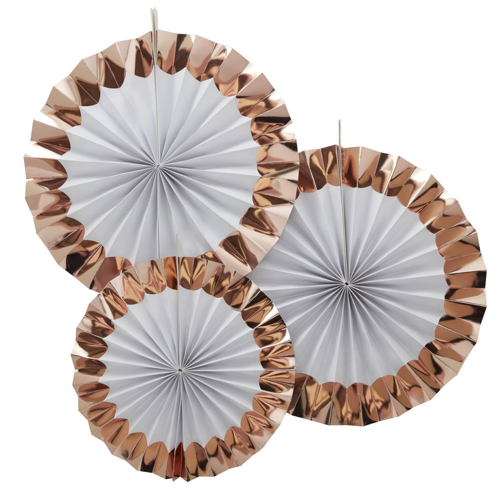Rose gold foiled pin wheel fan decorations by ginger ray for Decoration murale rose gold