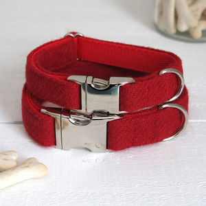 Cherry Red Harris Tweed Dog Collar - dogs