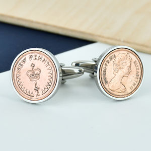 Halfpenny 40th 1976 Birthday Coin Cufflinks - men's jewellery