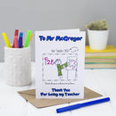 Personalised Thank You Teacher Colouring In Card