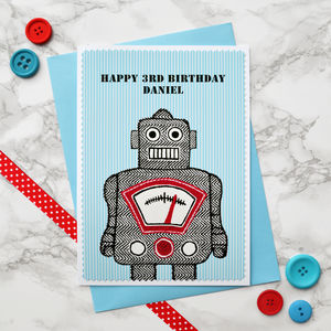 'Robot' Personalised Boys Birthday Card - birthday cards