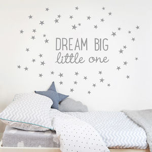 Dream Big Little One Wall Sticker - dreamland nursery