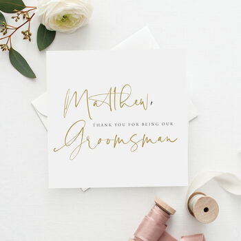 Modern Mock Gold Personalised Groomsman Wedding Card