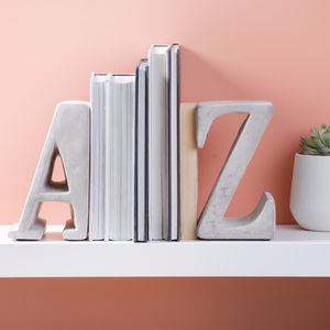 A Z Heavy Concrete Book Ends - living room