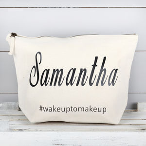 Personalised Large Wake Up To Make Up Cosmetic Bag - whatsnew