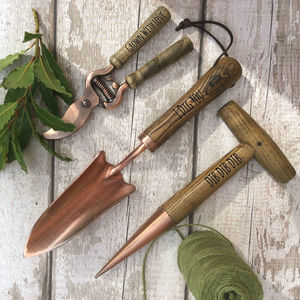 Set Of Three Personalised Copper Plated Garden Tools