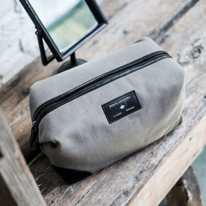 Grey And Black Leather Washbag