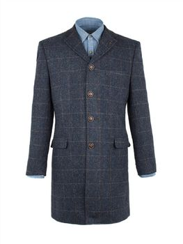 Men's Blue Tweed Overcoat