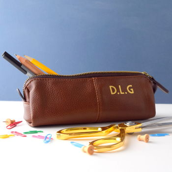 Personalised Leather Effect Pencil Case