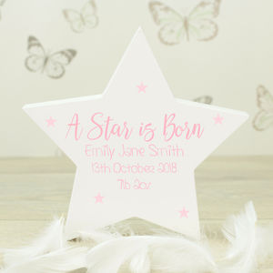 Personalised White Wooden New Baby Star