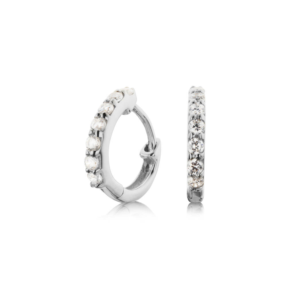 gold or silver small diamond style huggie hoop earrings by lily