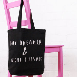 'Day Dreamer And Night Thinker' Cotton Tote Bag