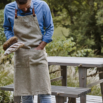 Leather Strap Linen Apron