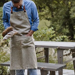 Leather Strap Linen Apron - lust list for him