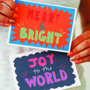 Merry And Bright Hand Lettered Christmas Card