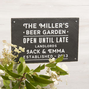 Personalised 'Beer Garden' Slate Sign - garden sale