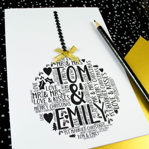 Mr And Mrs 1st Married Christmas Bauble Card