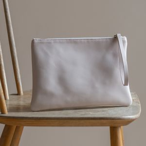 Leather Clutch With Satin Lining - women's accessories