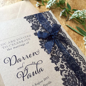 Vintage Lace Wedding Stationery Range - invitations