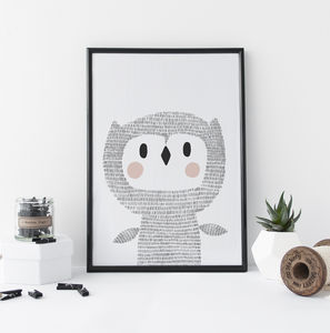 Nursery Wall Art Woodland Owl