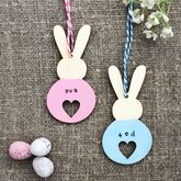 Personalised Heart Bunny Easter Decoration - easter