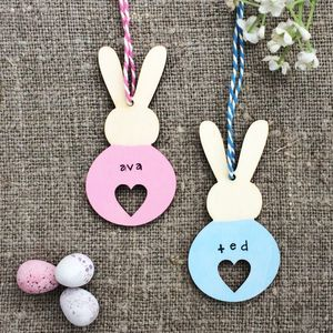 Personalised Heart Bunny Easter Decoration