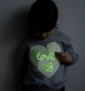 Heart Print Glow In The Dark Interactive Sweatshirt - gifts for the kids