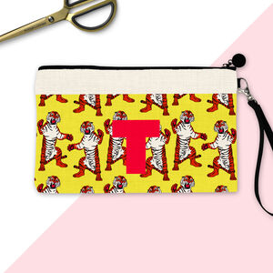 Personalised Initials Tiger Make Up Pouch