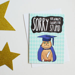 Funny Graduation Card With Illustrated Cat
