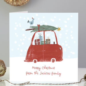 Pack Of Five Or 10 Personalised Christmas Car Cards