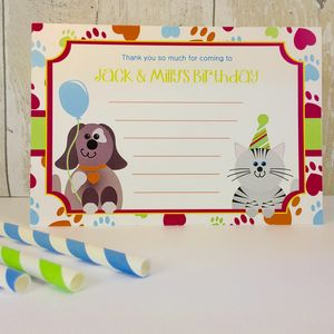 16 Cat And Dog Party Invitations Or Thank You Cards