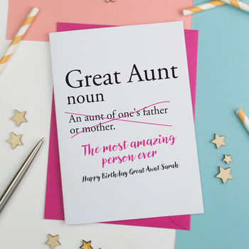 Great Aunty, Great Auntie Or Great Aunt Birthday Card
