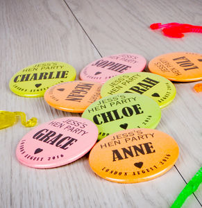 Personalised Neon Hen Night Badges - whats new